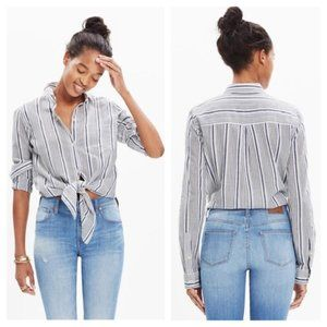 Madewell Tie Front Striped Button-Down Shirt